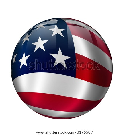 Interface orb button with United States Flag