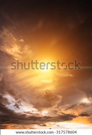 Sun and clouds shining, beautiful evening. #317578604