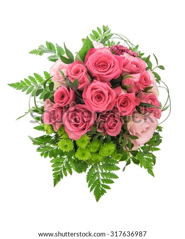 Pink roses flowers isolated on white background. Festive arrangement. #317636987