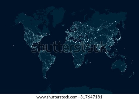 Communications network map of the world Royalty-Free Stock Photo #317647181