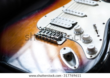 electric guitar selective focus at volume tuner #317769611