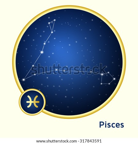 Pisces constellation zodiac sign in golden circle at starry night sky  #317843591