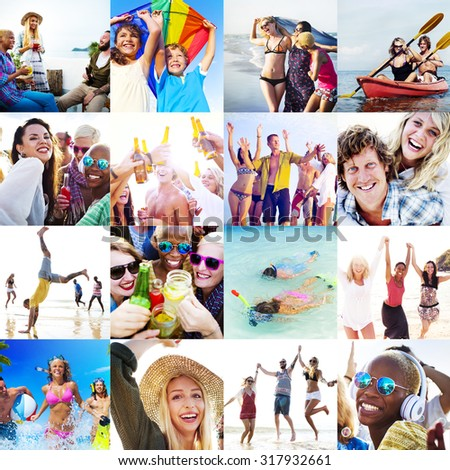 Collage Diverse Faces Summer Beach People Concept #317932661