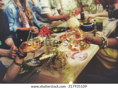 Beach Cheers Celebration Friendship Summer Fun Dinner Concept Royalty-Free Stock Photo #317935109