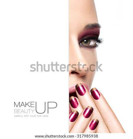 Beauty and makeup concept with a half face portrait of a gorgeous woman with fashion make-up and nails. Blank copy space alongside with sample text. Template design