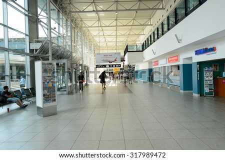 PRAGUE, CZECH REPUBLIC - AUGUST 04, 2015: airport of Prague interior. International airport of Prague is major airport of Czech Republic #317989472