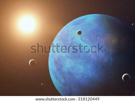 Colorful picture represents Neptune and its moons. Elements of this image furnished by NASA.