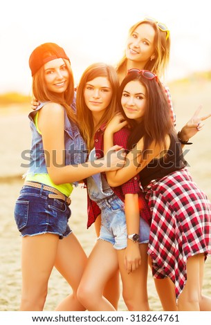 Friends have fun together outdoors #318264761