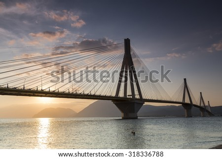 View of the bridge Rio-Antirio in Greece, at sunset. #318336788