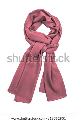 Purple silk scarf isolated on white background.  Female accessory. #318352901