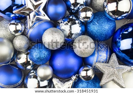 Blue and silver Christmas balls for a christmas background #318451931