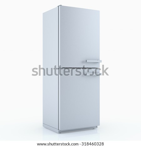 Home appliances. Refrigerator isolated on white. 3D render #318460328