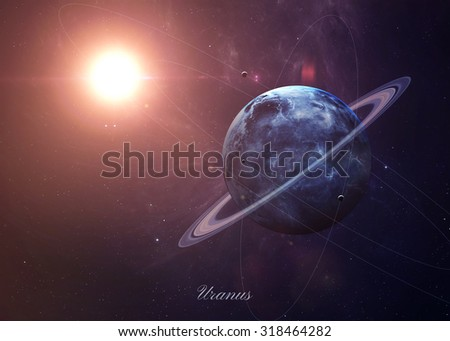 The Uranus with moons shot from space showing all they beauty. Extremely detailed image, including elements furnished by NASA. Other orientations and planets available.