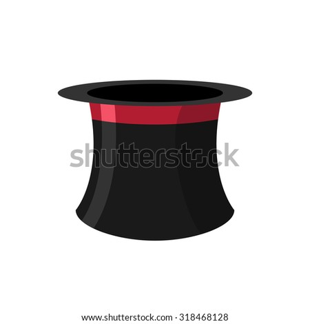 Cylinder magicians on a white background. Black Hat Topper with Red Ribbon. Old headdress for men.   #318468128