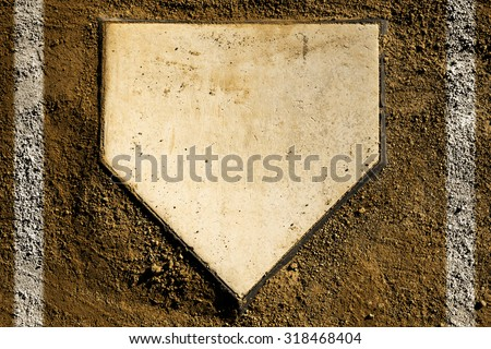 baseball home plate with dirt and chalk lines #318468404
