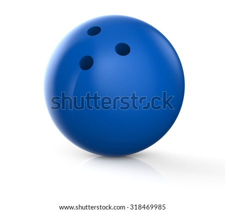 Blue bowling ball isolated on a white background #318469985
