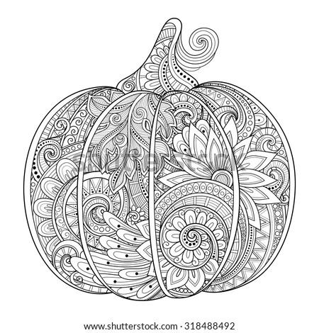 Vector Monochrome Decorative Punkim with Beautiful Pattern. Thanksgiving Symbol. Halloween Decorations