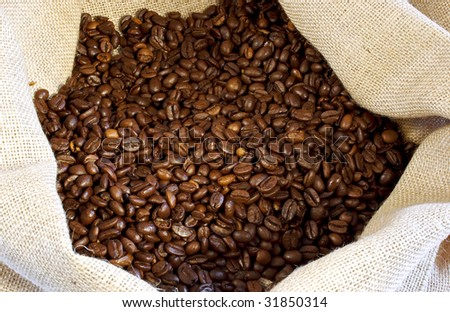 coffee beans in a burlap bag #31850314