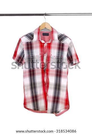 Men's  short-sleeved shirt on a white background. #318534086