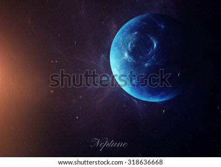 The Neptune with moons shot from space showing all they beauty. Extremely detailed image, including elements furnished by NASA. Other orientations and planets available. #318636668