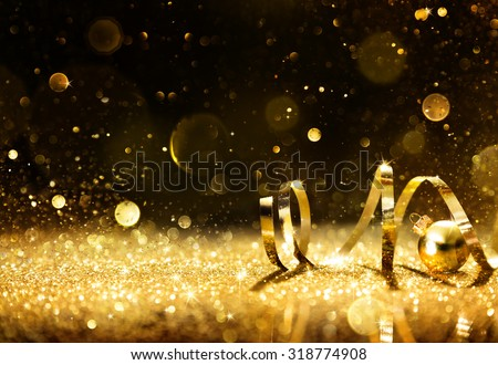 Golden Streamers With Sparkling Glitter - Christmas Holidays Background #318774908