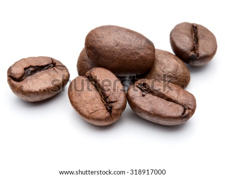roasted coffee beans isolated in white background cutout #318917000