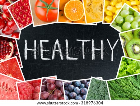 Healthy fresh color food. Fruits and vegetables concept #318976304