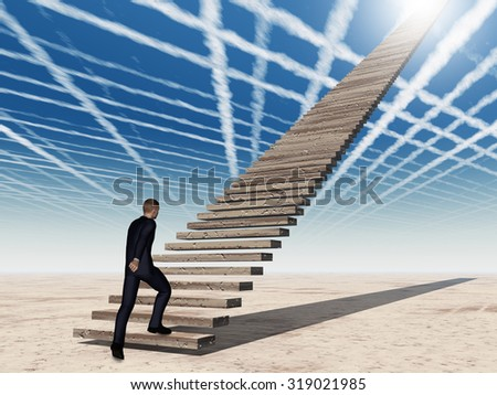 Concept conceptual 3D business man walking or climbing stair on sky background with clouds metaphor to success, career, work, job, achievement, development, growth, progress, vision, future or faith #319021985