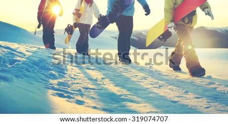 People Snowboard Winter Sport Friendship Concept