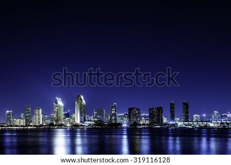 San Diego skyline at starry night #319116128
