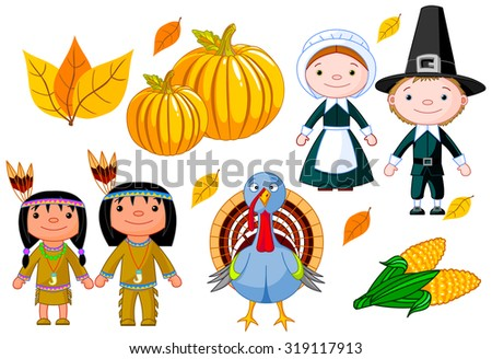 Illustration of Thanksgiving Day icon set