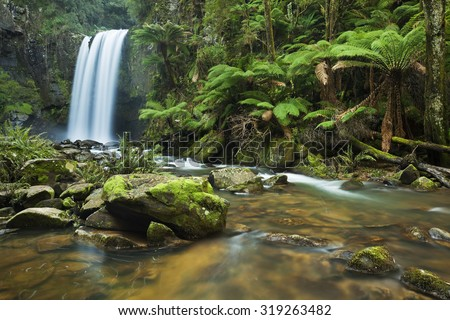 Waterfall in a lush rainforest. Photographed at the Hopetoun Falls in the Great Otway National Park in Victoria, Australia.