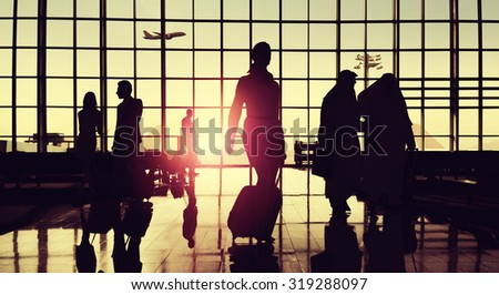 Back Lit Business People Traveling Airport Passenger Concept #319288097