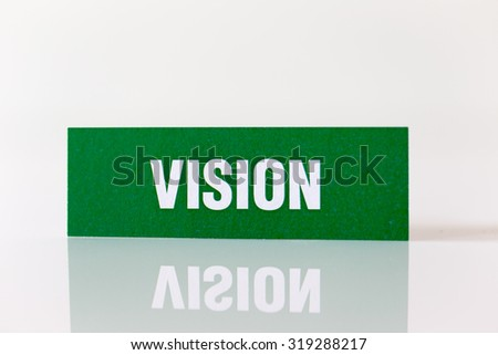 VISION written on Paper Showing Commercial Concept #319288217