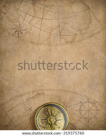 old nautical map with compass #319375760