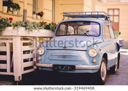 Old, retro, vintage, antique classic car, automobile, auto. Motor transport for drive, travel, transportation. Vintage effect style picture.