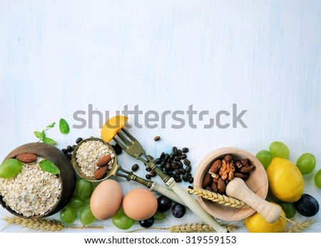 Food ingredients for breakfast, background for text #319559153
