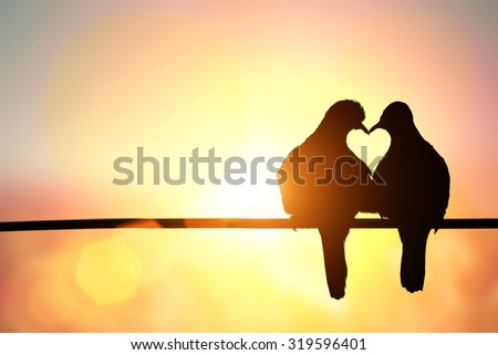 silhouette of bird in heart shape on pastel background and Valentine's Day  #319596401