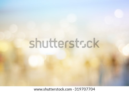 Blurred bokeh light in hall shopping mall colorful defocus art abstract background