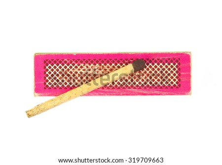 Match on an old and used red or pink box isolated on white background