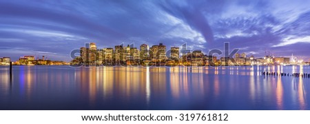 The skyline of Boston at sunset in Massachusetts, USA.