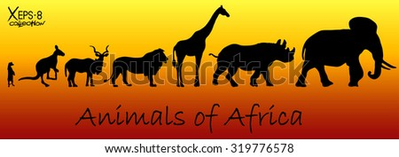 Silhouettes of animals of Africa: meerkat, kangaroo, kudu antelope, lion, giraffe, rhino, elephant. Vector illustration #319776578