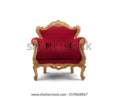 Concept of luxury and success with red velvet and gold armchair #319868867