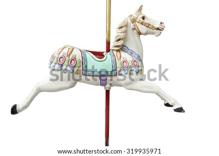 A classic carousel horse. Clipping path included. Royalty-Free Stock Photo #319935971