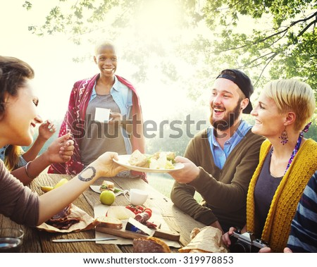 Friends Friendship Outdoor Dining People Concept #319978853