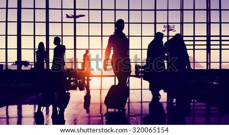 Back Lit Business People Traveling Airport Passenger Concept #320065154