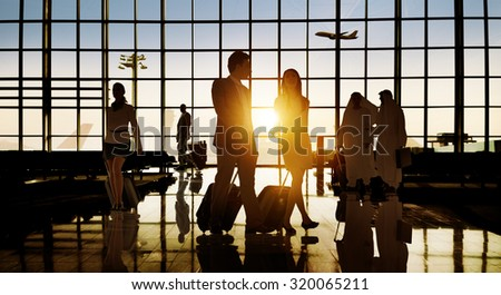 Back Lit Business People Traveling Airport Passenger Concept #320065211