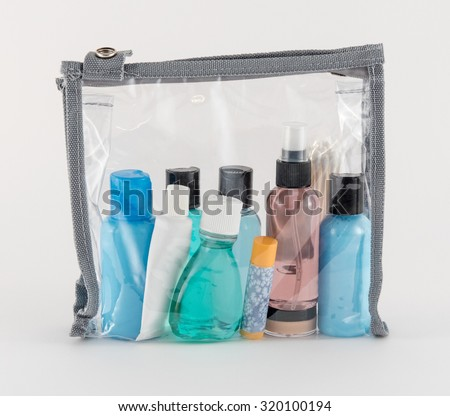Travel Toiletries in Clear Plastic Bag Royalty-Free Stock Photo #320100194