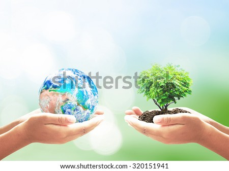 World environment day concept: Two human hands holding earth globe and heart shape of tree over blurred green nature background. Elements of this image furnished by NASA Royalty-Free Stock Photo #320151941