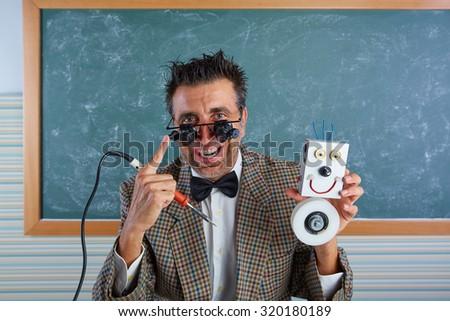 Nerd electronics technician silly retro teacher welding self made robot #320180189